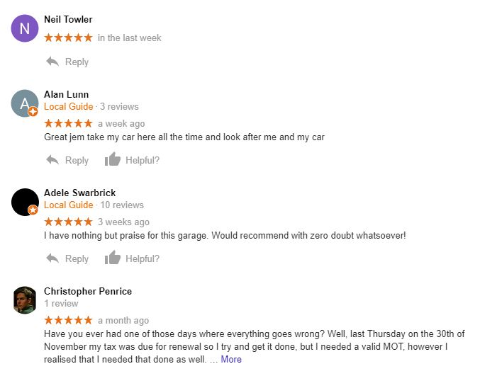 A&P Autos Google Reviews